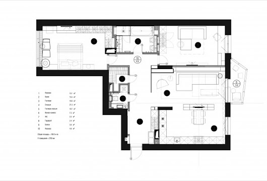 Sophisticated family apartment with rich wood accents includes floor plan home designing