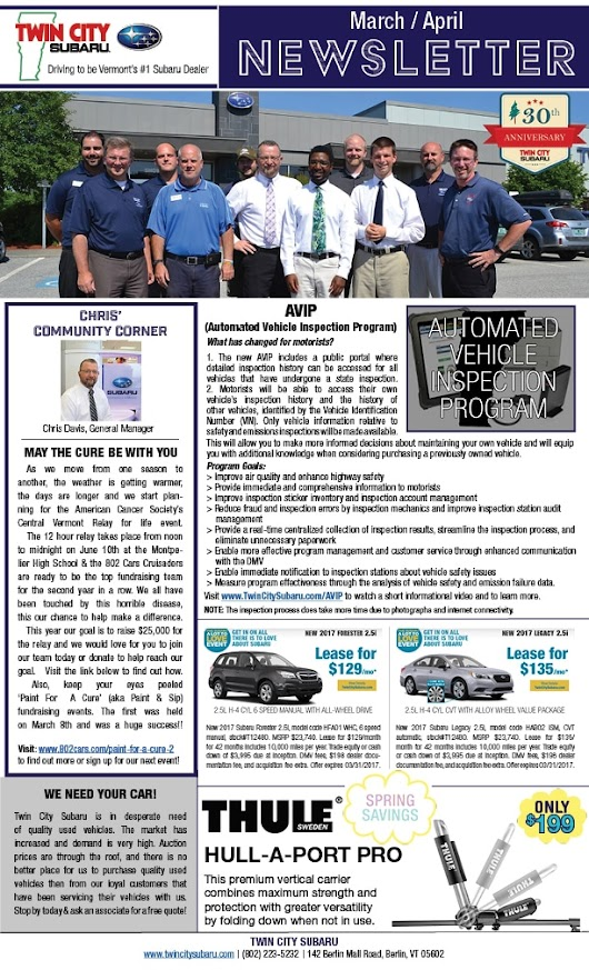 Twin City Subaru Monthly Newsletter