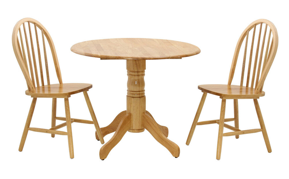 Madison Drop Leaf Traditional Round Dining Table with Two Chairs Natural Finish  eBay
