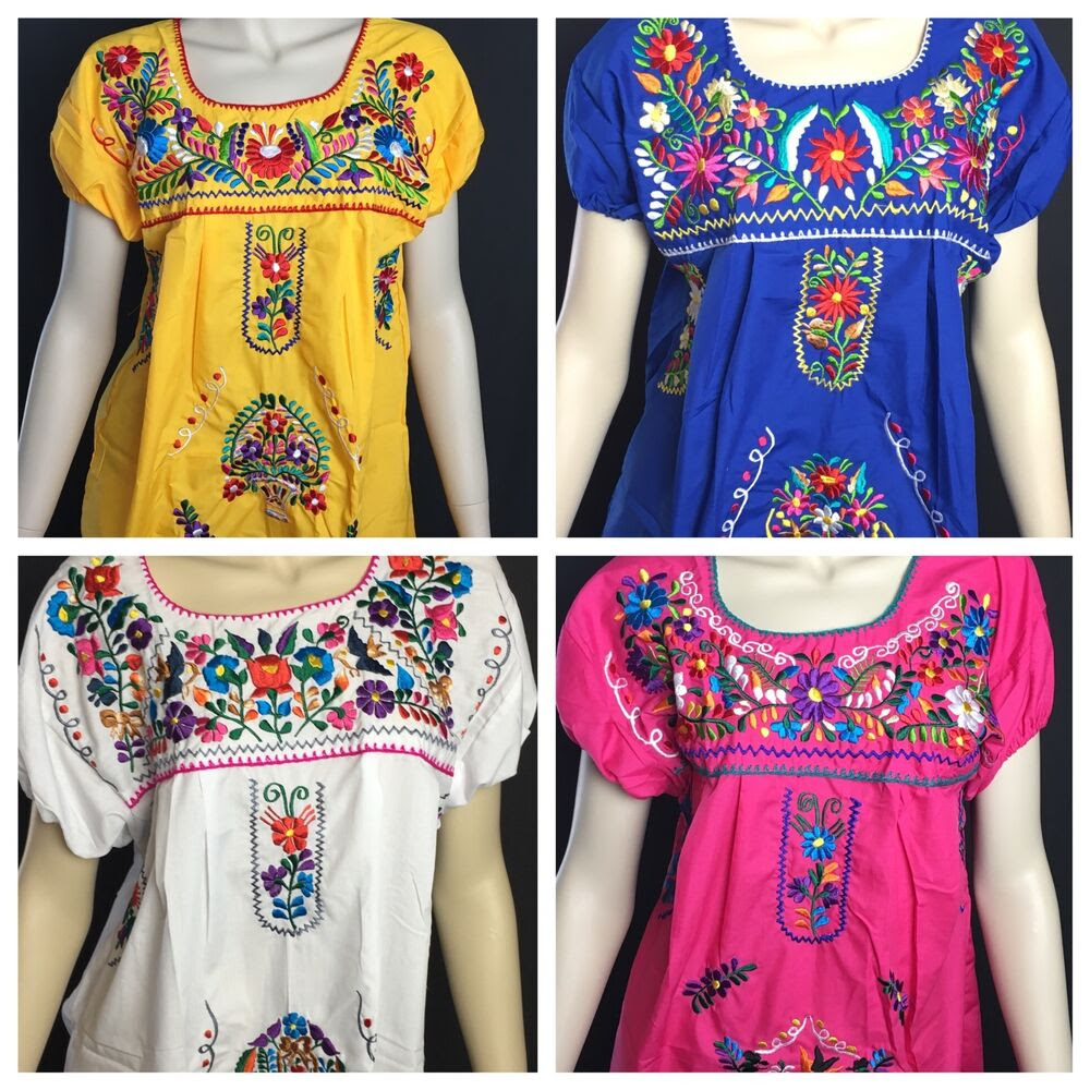 womans peasant embroidered mexican blouses assorted colors