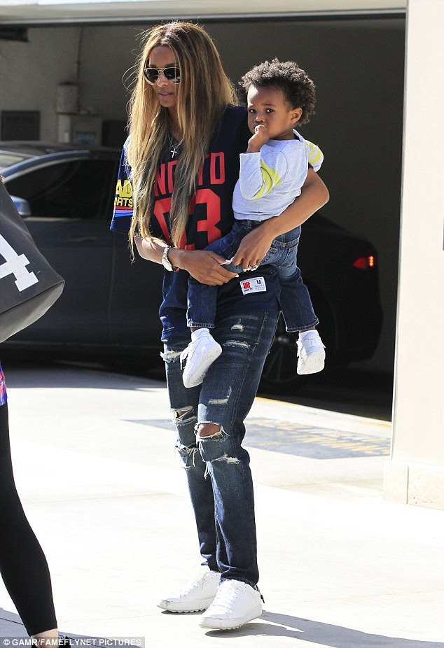 Back to reality:Ciara, her son Future Jr. and THAT ring were spotted out and about in Los Angeles, California, on Tuesday
