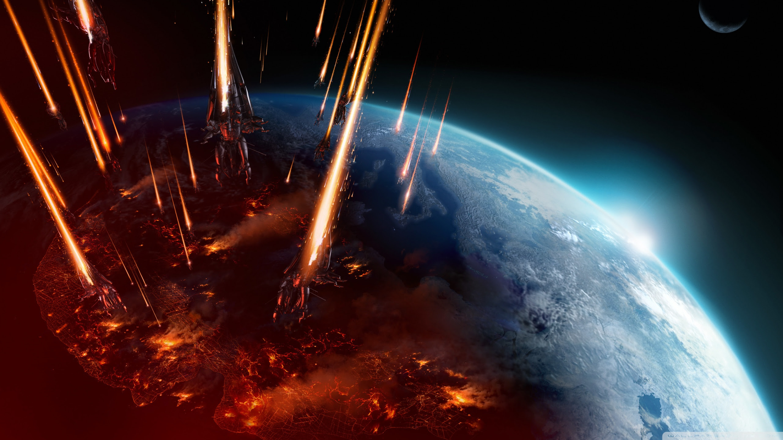 Mass Effect 3 Earth Attack Ultra Hd Desktop Background Wallpaper