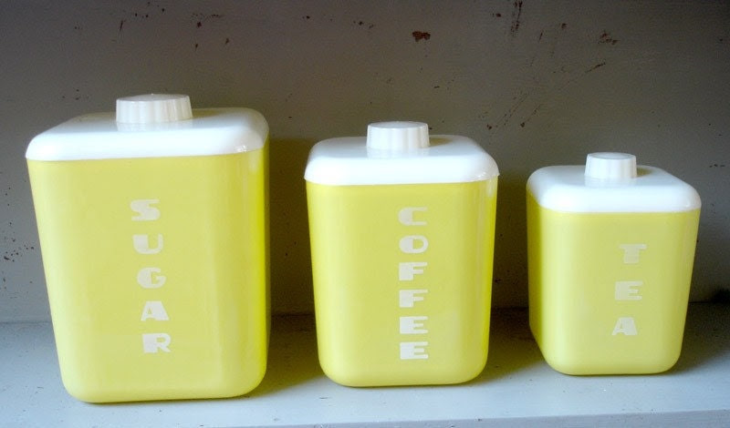 Vintage 1950's Lustro Ware Yellow Plastic Kitchen Canisters