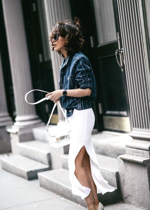 Le Fashion Blog Sporty Chic Striped Button Down White Midi Skirt Nude Pumps Fashion Blogger Diane Z Via Z Hours
