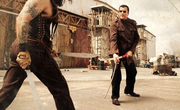 Machete takes on a drug dealer played by Steven Seagal in MACHETE.