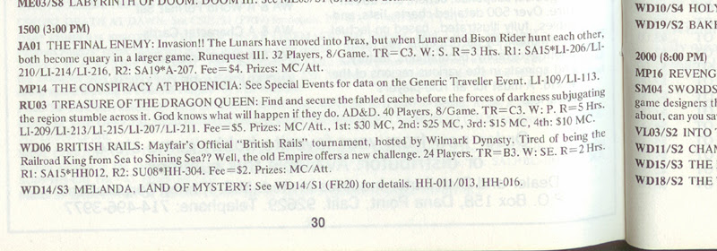 Origins IX 1985 convention program event listing for TotDQ