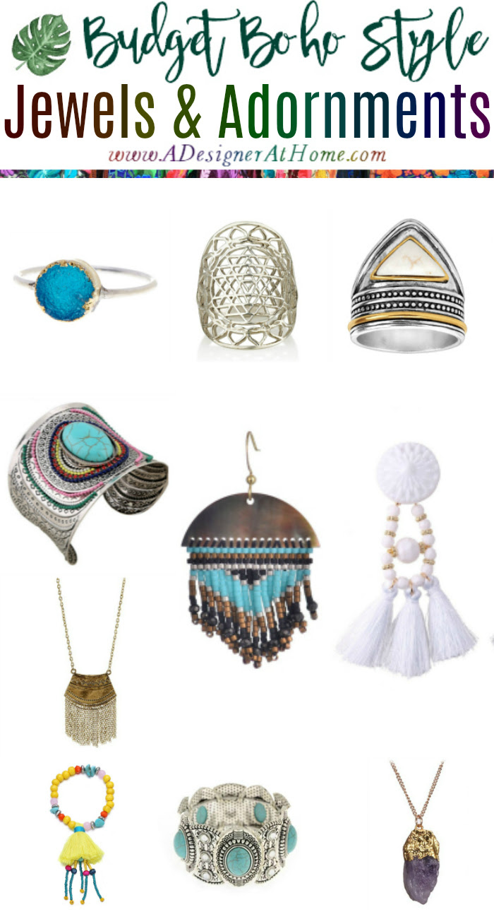 Budget Boho Style Jewelery & Adornments Rings, Bracelets, Necklaces and Earrings
