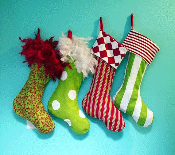 2 Custom Christmas Stockings Old School Collection Boa Tops and Cuffs, DIY Bold Bright Fun Funky Retro Vintage Mid Century Modern
