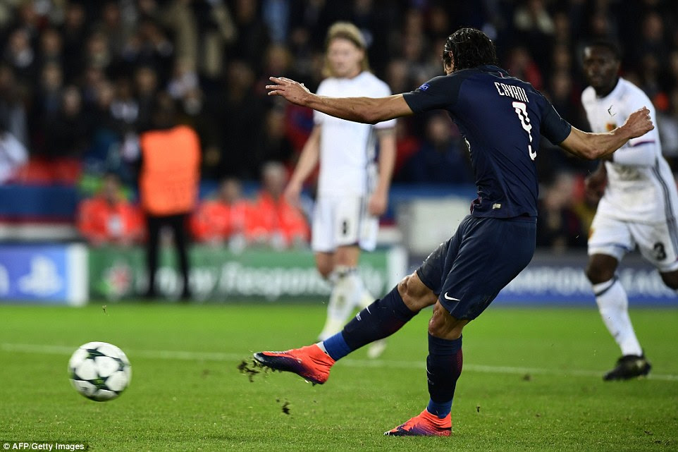 PSG were awarded a penalty in the dying moments and Cavani stepped up to score with this shot in Paris