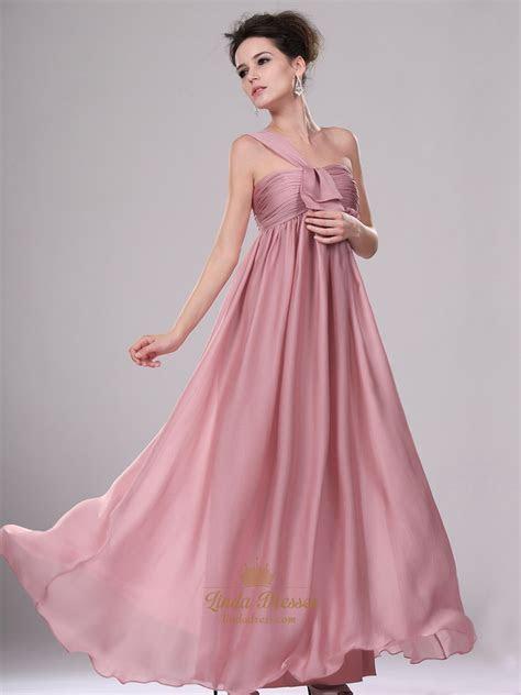 Pastel Pink One Shoulder Empire Waist Long Chiffon