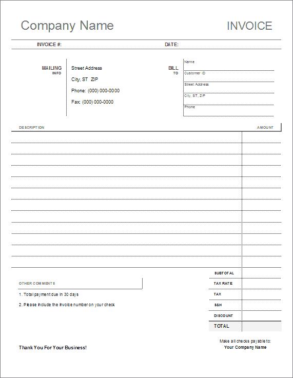 Blank Invoice Template - Printable
