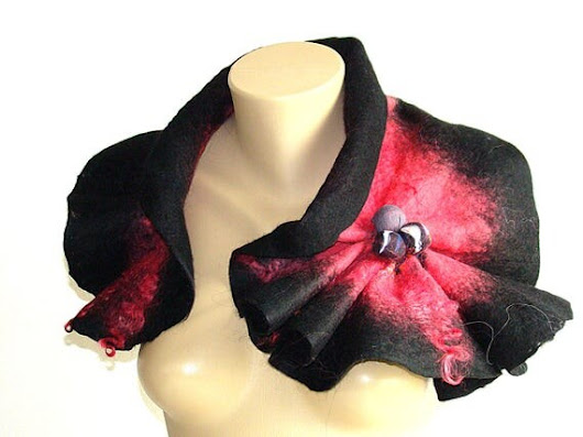 Pink Red and Black Felted Scarf Neckpiece Collar by NataliyaMalik