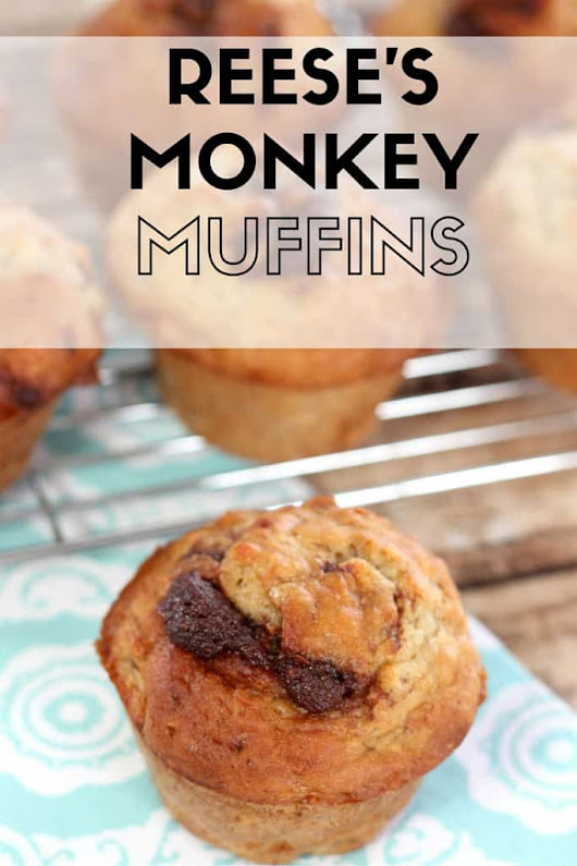 Reese's Monkey Muffins - Banana Muffins with a Chocolate Peanut Butter Swirl - Mom vs the Boys