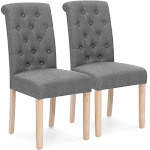 Best Choice Products Set of 2 Tufted High Back Parsons Dining Chairs (Gray) - Gray