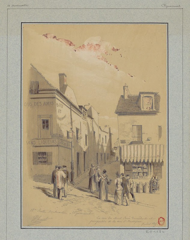 drawing of 19th c. Paris - people gathered on steep street on corner near retail businesses