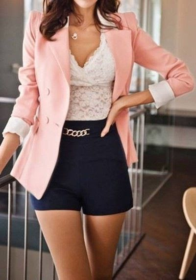 Pink blazer lace top.