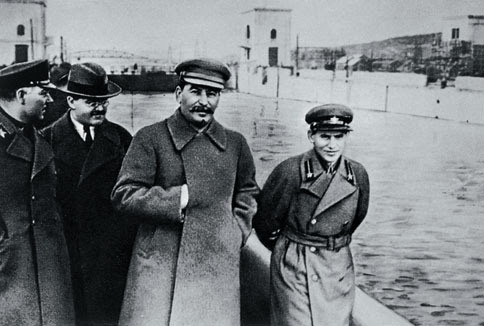 Kliment Voroshilov, Vyacheslav Molotov, Stalin and Nikolai Yezhov at the shore of the Moscow-Volga Channel near Moscow, Russia, 1937
