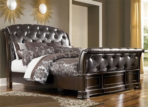 leather sleigh bed stylish