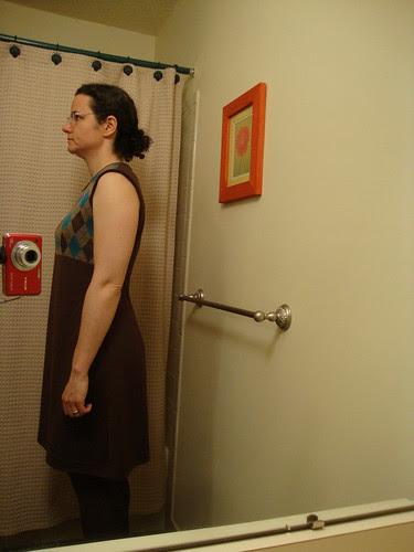 side view of argyle concept dress