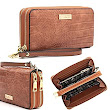 CrossLandy Women's Double Zip Around Wallet Large Clutch Organizer with Wristlet at Amazon Women's Clothing store:
