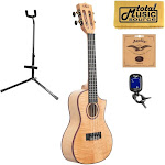 Total Music Source Kala KA-ASFM-C-C Solid Flamed Maple Cutaway Concert Ukulele, w/ Stand Bundle