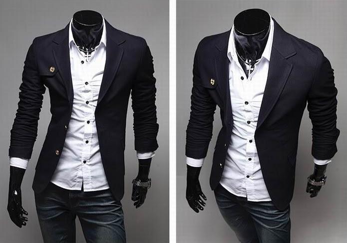 Blazer Casual Fashion - Detalle en el Pecho - Azul Oscuro