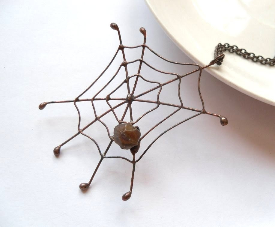 Copper wire pendant dark brown beaded jewelry statement funky Spieder web - ArtemisFantasy