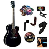 Yamaha FSX720SC Black Small Body Acoustic-Electric Guitar Bundle w/Legacy Kit (Tuner,DVD and More)