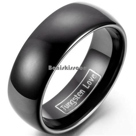 8mm Tungsten Carbide BLACK Wedding Band Men's Women's