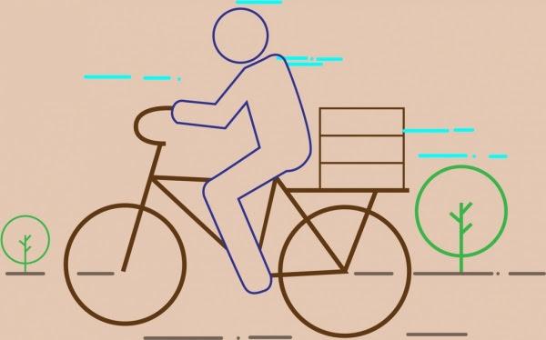 Pria Menunggang Sepeda Tema Berwarna Datar Sketsa Orang Orang Vektor