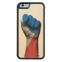 Raised Clenched Fist with Filipino Flag Carved® Maple iPhone 6 Bumper Case