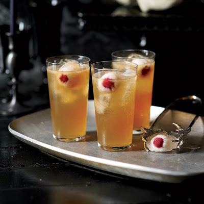 This is Grace Parisi's take on the Dark and Stormy, a classic rum and ginger beer drink. Floating in the punch bowl are round ice cubes made with lychee syrup and lychees stuffed with brandied cherries, which have an uncanny resemblance to eyeballs. Recipe: Dark and Stormy Death Punch