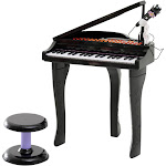 Qaba 37 Key Kids Baby Grand Digital Piano with Microphone and Stool - Black