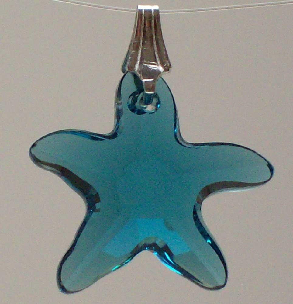 Starfish Swarovski Pendant in Indicolite