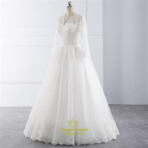White Illusion Lace Sleeve V Neck Wedding Dress With Lace