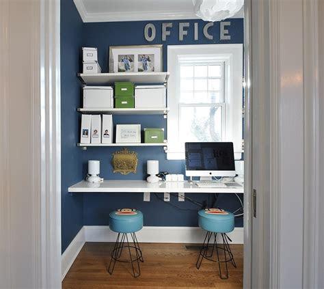 small home office design  sleek shelves  white