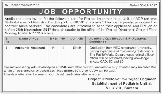 NICVD Jobs National Institute of Cardiovascular Diseases 2017 Jobs Pakistan Jobz.pk