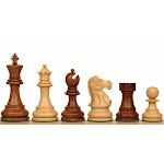 "Deluxe Old Club Staunton Chess Set with Acacia & Boxwood Pieces - 3.75"" King"