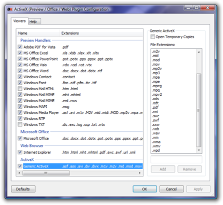 Directory Opus news: ActiveX Viewer Plugin version 3