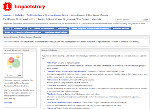 Steal these altmetrics LibGuides! - Impactstory blog