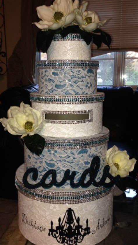 DIY bling blue diamond vintage lace card box   Weddingbee