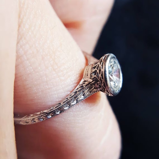 Vintage Engagement Ring Art Deco Engagement Ring Solitaire