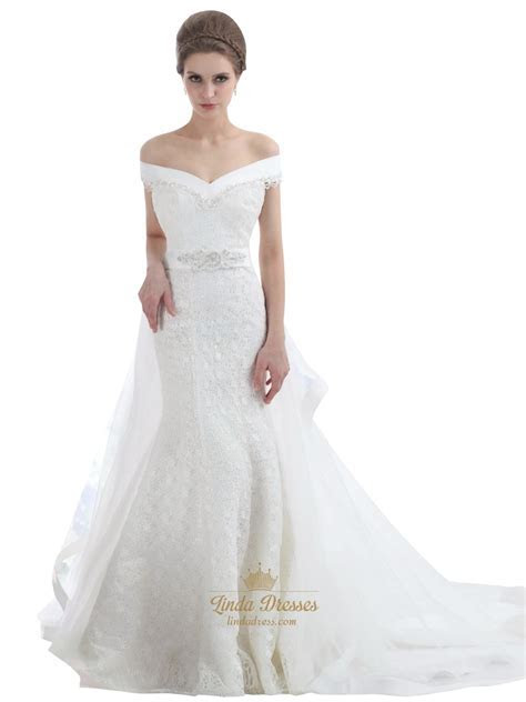 Ivory Lace Mermaid Off The Shoulder Wedding Dress With