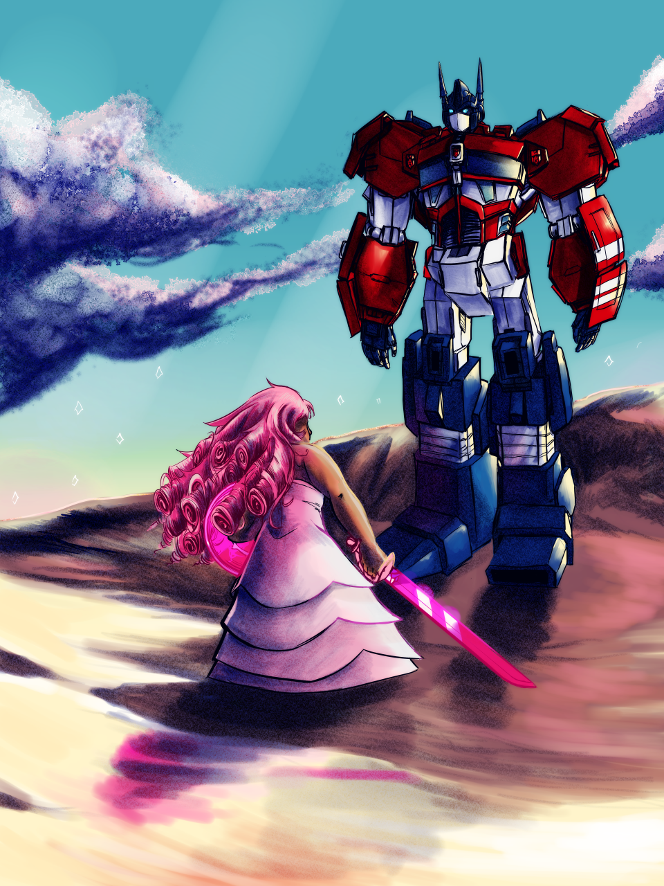steven universe/transformers crossover commision (and extra sketch, because this took entirely too long) for @katekatharos . I've wanted to do a crossover between these shows forever, so hope you...