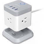 BESTEK Power Strip with USB, Vertical Cube Mountable Power Outlet Extender with 3 Outlets, 3 USB & 1 Type-C Ports, 5-Foot Extension Cord