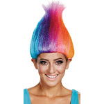 RAINBOW COLORED ADULT TROLL WI - Black - Disguise