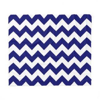 Horizontal Navy and White Zigzag Fleece Blanket