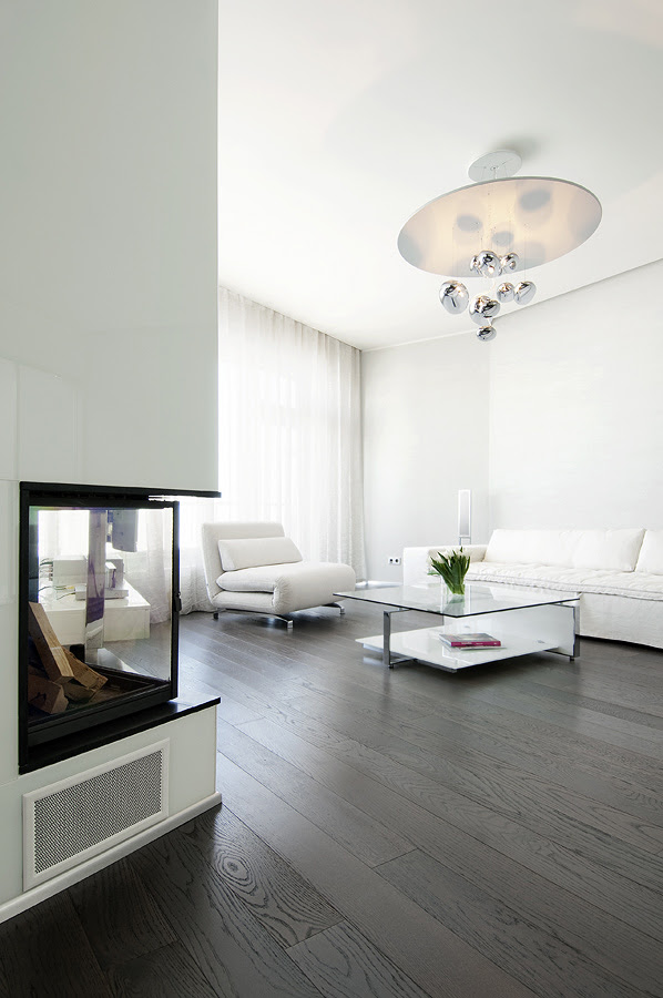 Living neutral soft furnishings with dark wood flooring and glass fireplace niche portrait