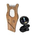Mini Kinnor Package Includes: David's Harp Lyre - Walnut + Chromatic Tuner For Guitar, Lute, Oud, Dulcimer
