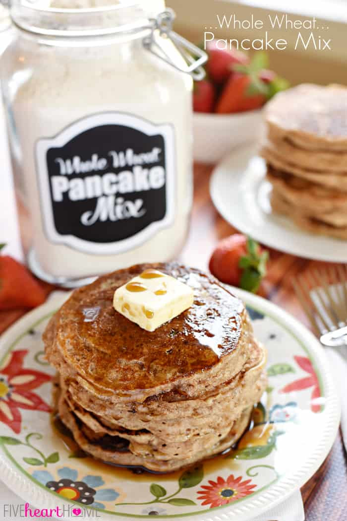 Whole Wheat Pancake Mix ~ keep a jar of this all-natural homemade mix in your pantry for a quick and easy breakfast of fluffy, 100% whole wheat buttermilk pancakes! | FiveHeartHome.com